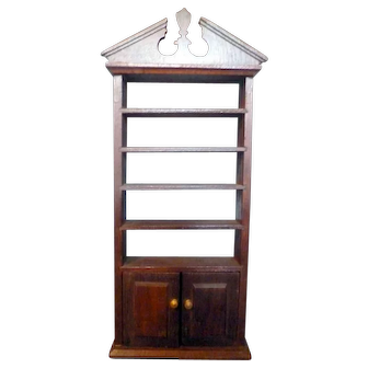 RARE Vintage TYNIETOY Tynie Toy Flame Top Mahogany Bookcase Dollhouse Miniature