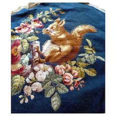 Large Antique Completed Needlepoint Picture Chair Cover Squirrel Flowers