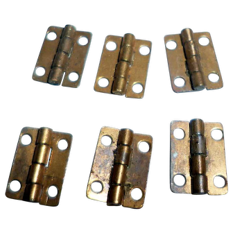 Vintage 1920s(6)TYNIETOY BRASS Furniture HINGES Dollhouse Miniature 1/12
