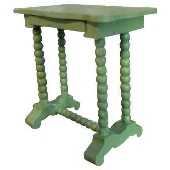 RARE Vintage TYNIETOY Green Victorian Spool Stand Table Dollhouse Miniature