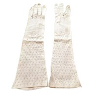 Movie Star Owned JANE WITHERS 1950s Long White Leather Gloves Embroidered with Crystals