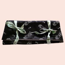 Vintage 1950s Satin Embroidered Glove Case *Movie Star Owned*