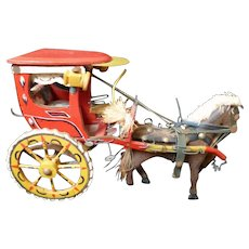 Amazing Vintage Folk Art Handmade Horse and Buggy Toy