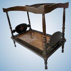 "Spectacular Antique Folk Art 17.5"" Wooden Canopy Doll Bed + Quilt"