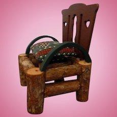Vintage Artist Made Cabin Chair Wood Dollhouse Miniature 1/12