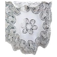 """EXQUISITE Vintage Antique Hand Made 48"""" LACE Round Linen Tablecloth"""
