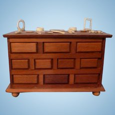 Artist Made Chest & Vanity Items Dollhouse Miniature From Museum
