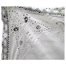 EXQUISITE Antique Hand Embroidered BUTTERFLY Linen Tablecloth *Movie Star Estate*