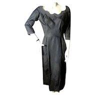 Elegant 1950s Dress Navy Blue Taffeta Bust 36 *MOVIE STAR OWNED*