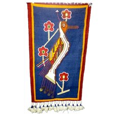 1950s Mid Century Modern Vintage Olga Fisch Folklore Woven Tapestry Wall Hanging