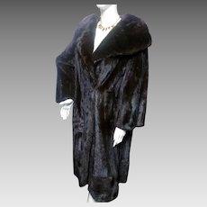 FABULOUS Vintage Full Length Natural Dark Mink Fur Coat Rosoff Beverly Hills L-XL