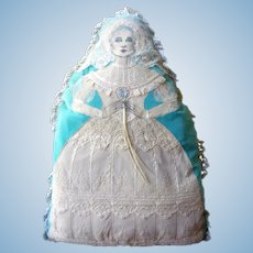 OOAK Artist Made Cloth BRIDE PILLOW Doll With Antique Lace
