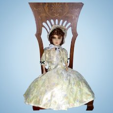 "Original 1920s 28"" French FRENCH BOUDOIR Paper Mache Doll Poupee De Salon"