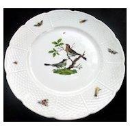 """Set of 7 Limoges France """"Les Oiseaux"""" Dinner Plate A Raynaud et Cie Ceralene Vintage Porcelain"""