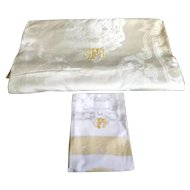 Unused Vintage Gold White Damask BANQUET Monogram Tablecloth & 12 Napkins