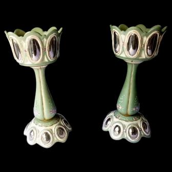 "WONDERFUL 2 Antique Hand Painted 13"" Porcelain Centerpieces Candleholder Lamp Base"