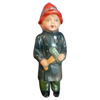 """Vintage 1920s-30s Celluloid 5"""" Fireman Boy Rattle DOLL From Movie Star Estate"""