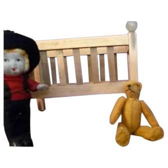 """Vintage Artist Made 2"""" Antique Style Stuffed Bear Articulated Dollhouse Miniature"""