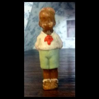 """RARE 1920s 2.5"""" Gasoline Alley Skeezix German Wax Doll From Movie Star Estate"""