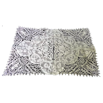 EXQUISITE Antique 24 Piece Set Figural Placemats Runner Napkins Hand Made Italian Lace