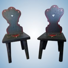 TWO Artist Sue Sutphin Signed Dollhouse Chairs Miniature Hand Painted From Museum