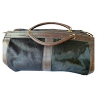 MOVIE STAR OWNED 1940s Italian Leather & Cow Hide Duffel Bag *Jane Withers* Lark Luggage