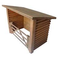Vintage Handmade Dollhouse Log Cabin Barn Miniature From Museum