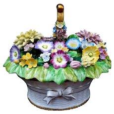 "RARE Stunning Mottahedah Porcelain Flower Basket 8"" Centerpiece or Server Italy"