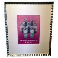 ORIGINAL 1940s LaMuguet Du Bonheur Caron French Perfume FRAMED Advertisement
