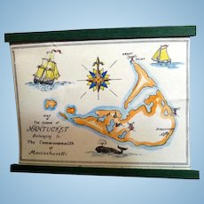 Vintage TYNIETOY Hand Painted NANTUCKET MAP Dollhouse Miniature