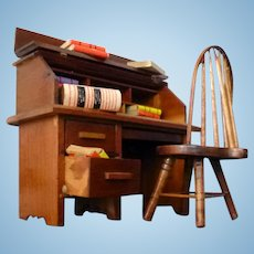 LOVELY Vintage Wooden Desk & Chair with Accessories Dollhouse Miniature