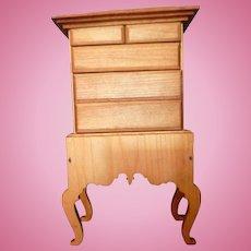 RARE Vintage TYNIETOY HIGHBOY Dresser Natural Finish Dollhouse Miniature 1/12