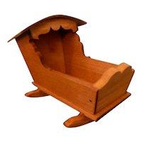 RARE  Vintage TYNIETOY Wood Cradle Dollhouse Miniature Natural Finish 1/12
