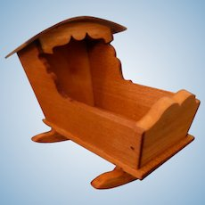 RARE  Vintage TYNIETOY Wood Cradle Dollhouse Miniature Natural Finish 1/12