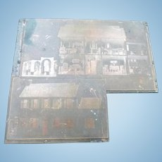 OOAK Vintage 1920s TYNIETOY Mansion Printing Block Catalog Photo Negative From Museum