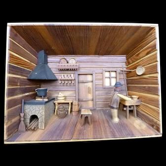 Vintage Folk Art Room Box Made in Poland *From Movie Star Estate*