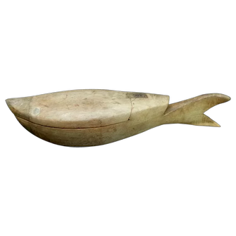 Antique Carved Folk Art Wooden Box WHALE SHARK FISH?