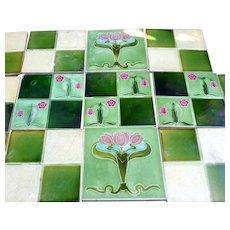 Set of 14 Original c 1900 Antique Art Nouveau Tiles Made in England Majolica
