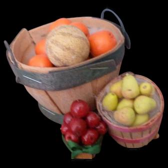 Vintage Fruit Baskets Oranges Apples Cantalope Dollhouse Miniatures FROM MUSEUM