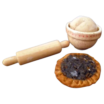 Vintage Artist Made Baking Items Pecan Pie Rolling Pin Dough Bowl Dollhouse Miniature FROM MUSEUM