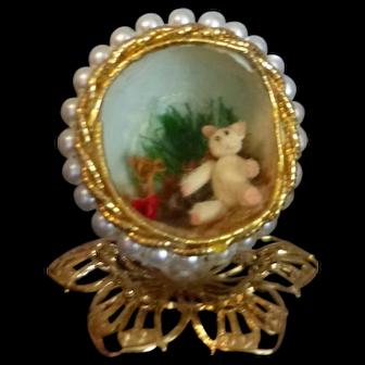 Vintage N.I.A.D.A. Irma Park Artisan Faberge Style Egg With Teddy Bear