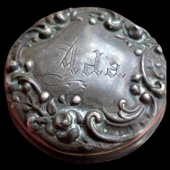 Antique GORHAM Ada Sterling Silver Vanity Makeup Jar with Roses Lid Beauty Glass