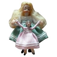 "Vintage 1971 NIADA Artist IRMA PARK Miniature ""Walking Dolly"" Girl with Doll Dollhouse Miniature"