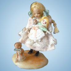 "Vintage 1968 NIADA Artist IRMA PARK Miniature ""Arms Full"" Girl with Dolls & Dog Dollhouse Miniature"