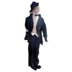 """Vintage 12"""" Cloth Doll Painted Face Man in Tuxedo From MOVIE STAR ESTATE"""
