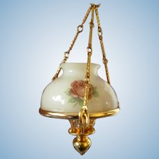 Vintage Rose Painted Glass Wired Oil Hanging Lamp Dollhouse Miniature 1:12