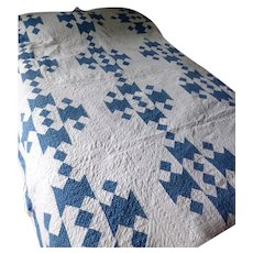 AMAZING c.1890 Signed Jacob's Ladder Quilt With Decorative Stitching