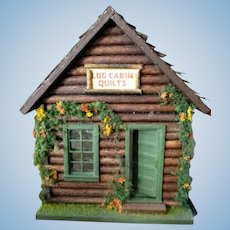 "Charming 1/4 1:48 Scale Artist Made DOLLHOUSE ""Log Cabin Quilts"""