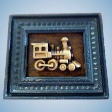 WONDERFUL IGMA Artist Geoffrey Bishop Carved Train Picture Dollhouse Miniature