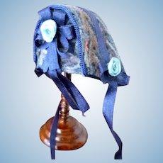 Vintage Artist Made Bonnet Hat for Dollhouse Doll Or Dollhouse Miniature